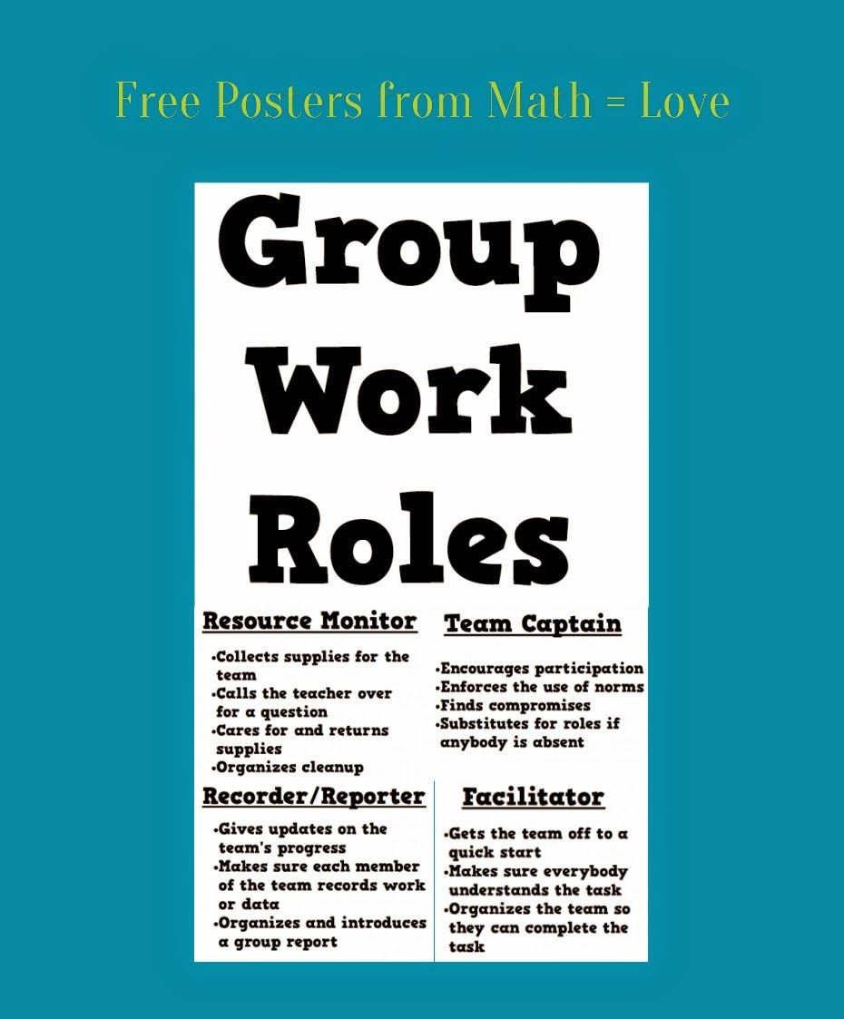 Posters of Group Work Roles (Math = Love) | grouping | Pinterest ...
