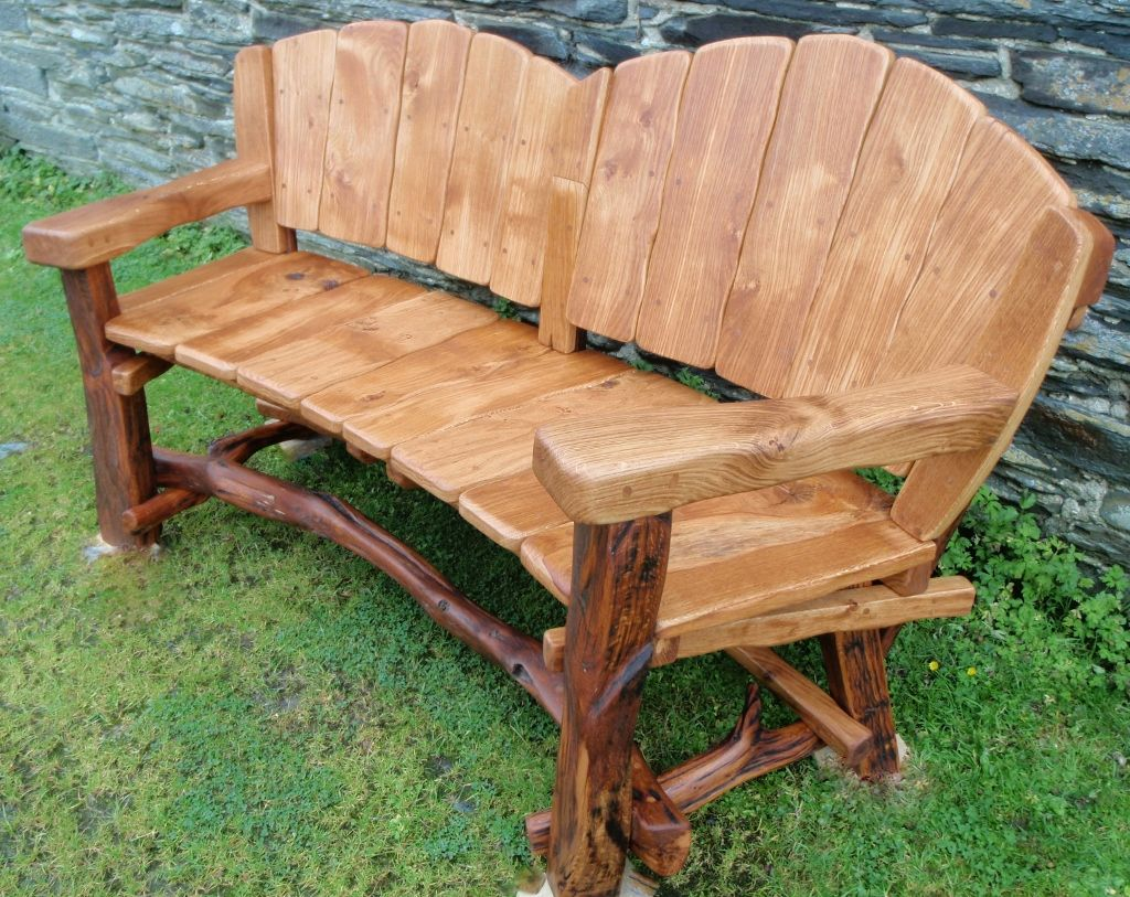 Rustic Wood Bench With Back Rustic Garden Benches Rustic