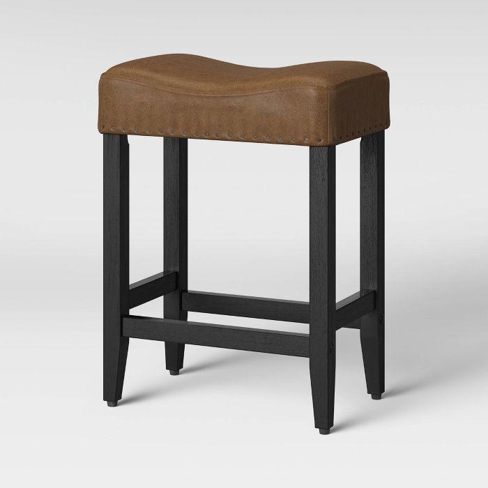 24 Rumford Saddle Counter Stool With Wood Leg Cognac Threshold Counter Stools Wood Legs Stool