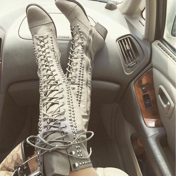 Thigh High Studded Combat Boots | **DISCOUNT SHOES | Pinterest ...