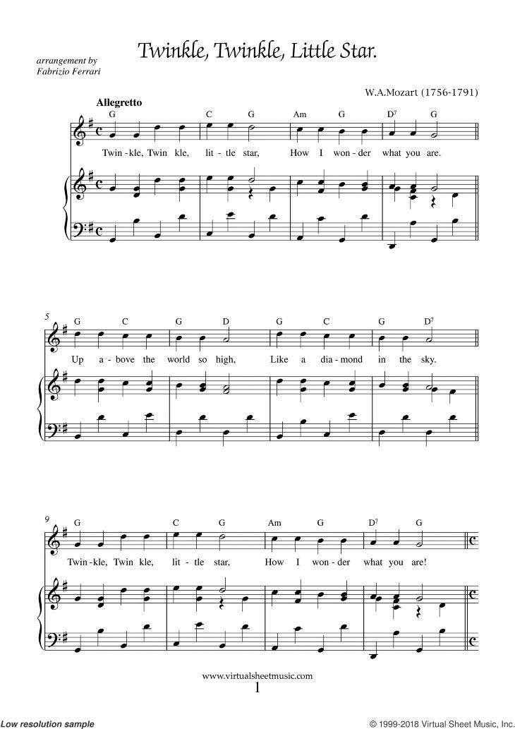 Mozart twinkle twinkle little star sheet music for