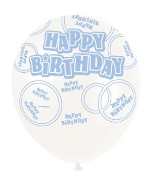 Winter White Printed Happy Birthday Balloon