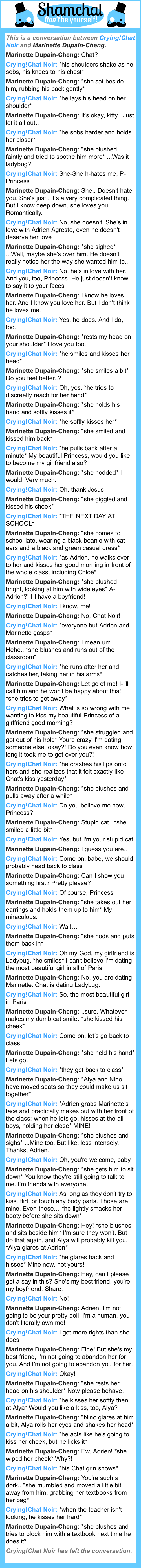 A conversation between Marinette Dupain-Cheng and Crying