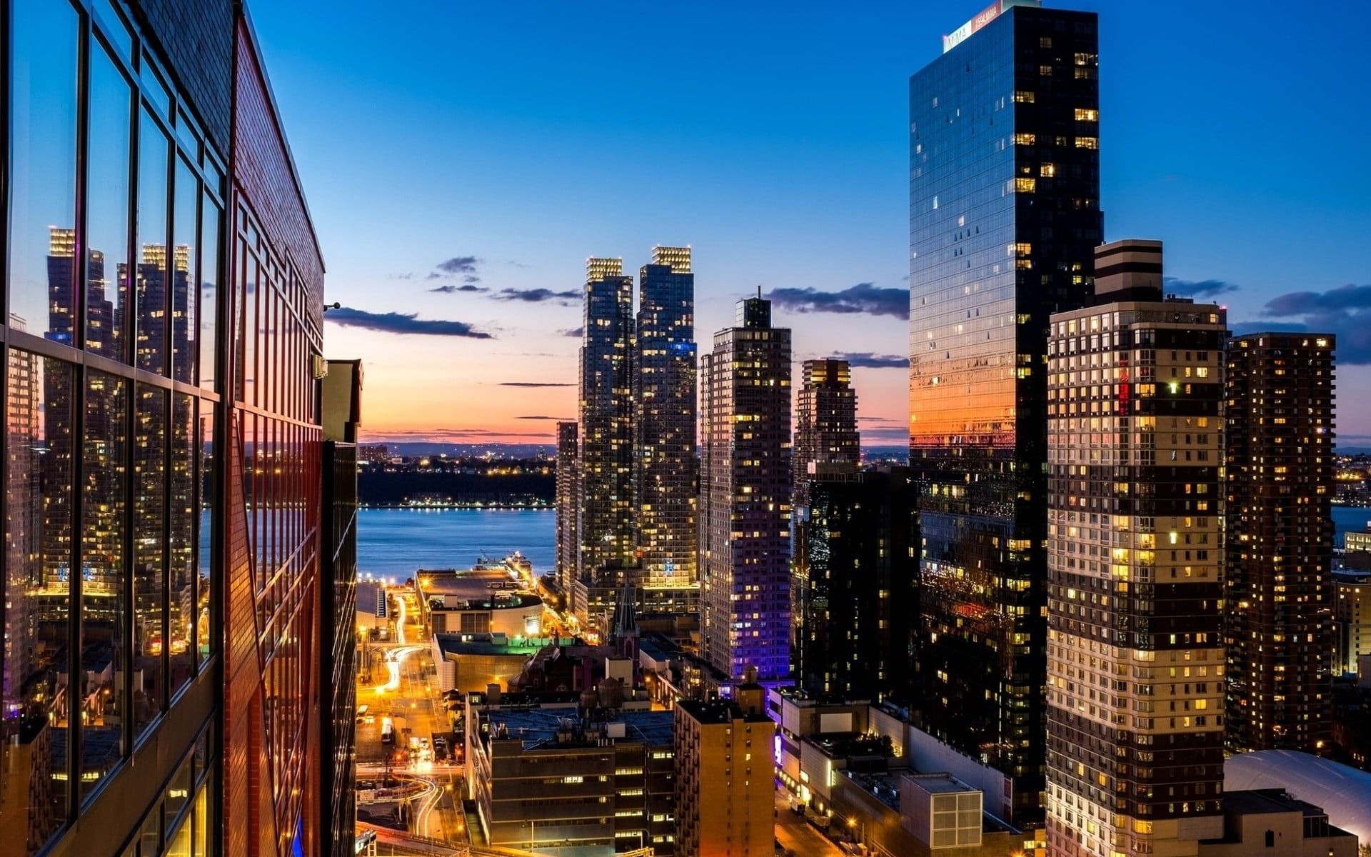 City Buildings Aerial Photography Of City During Nighttime Cityscape Architecture Building New York Manhattan Wallpaper Cityscape Wallpaper City Wallpaper