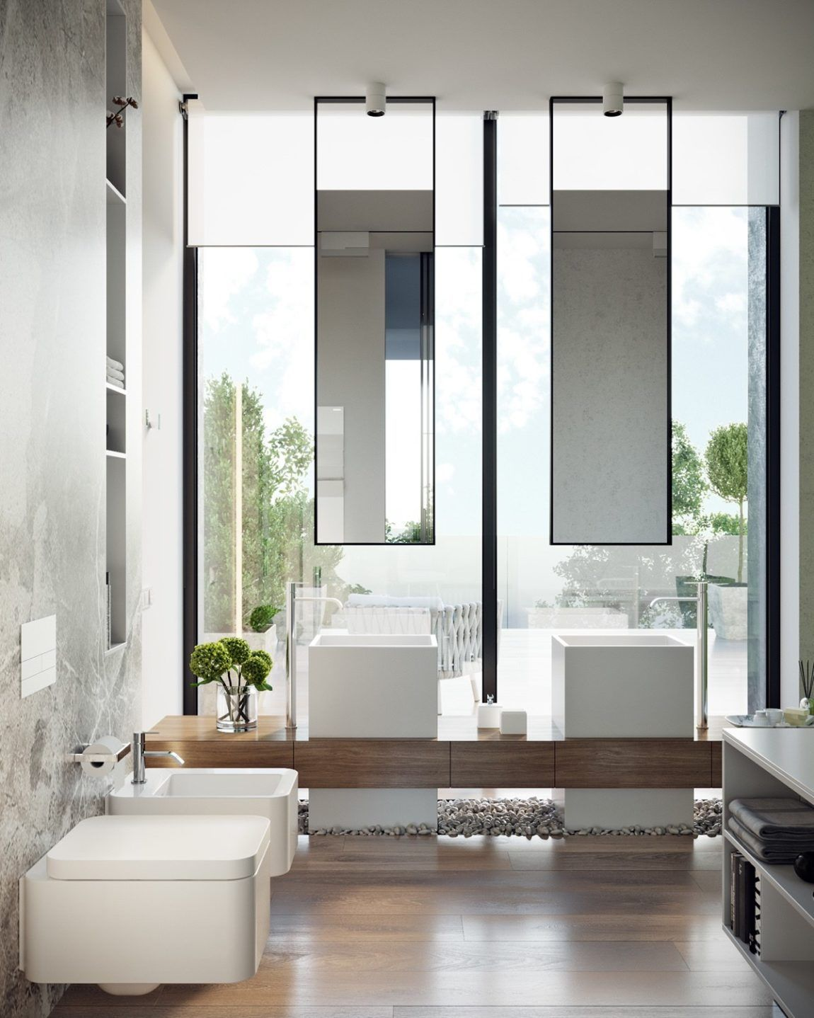 Pin by ly on bathroom pinterest modern wood bathroom and marbles
