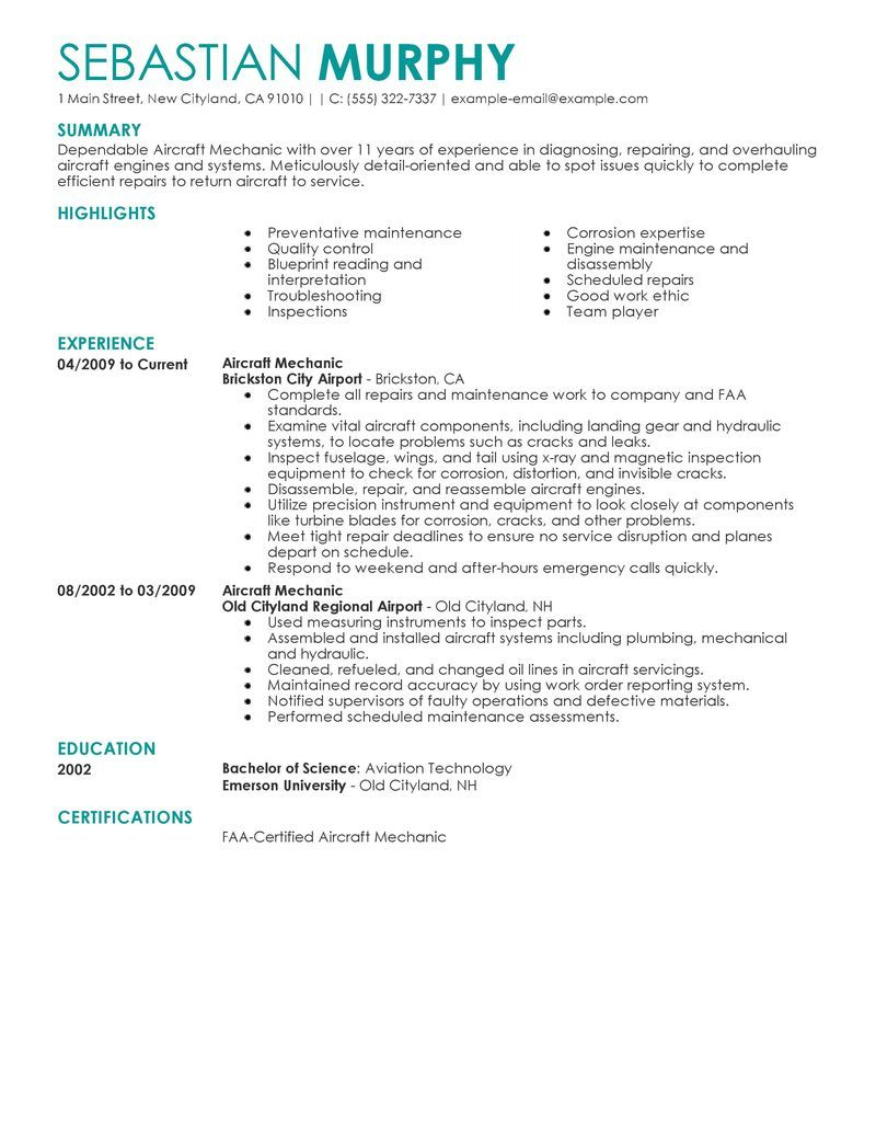 Best Aircraft Mechanic Resume Example Livecareer Job Seeking Tips