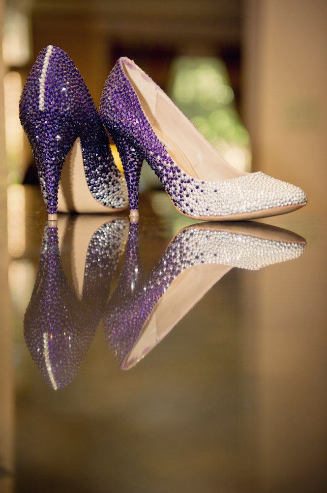 Custom Swarovski Crystal Embellished Wedding Shoes Purple And Silver Ombre 55000 Via Etsy
