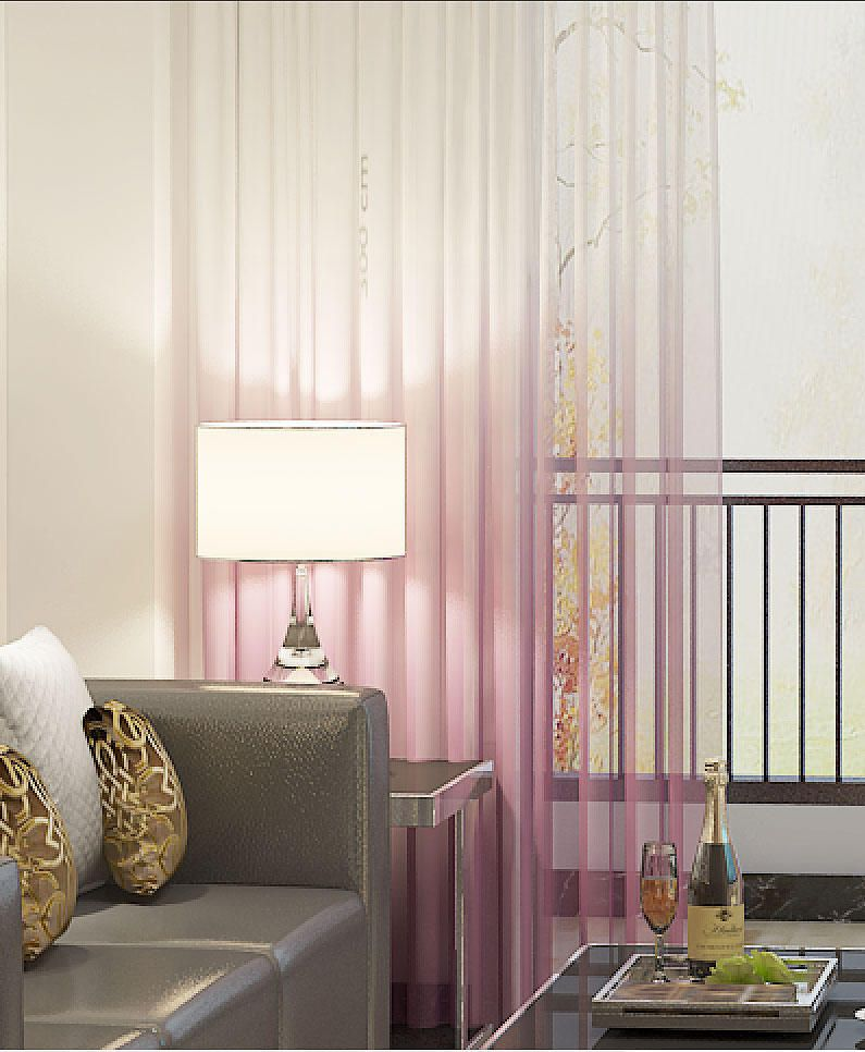 Modern Pink Ombre Sheer Drapery Custom Pinch Pleat French Inverted