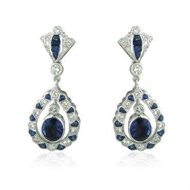estate diamond sapphire earrings