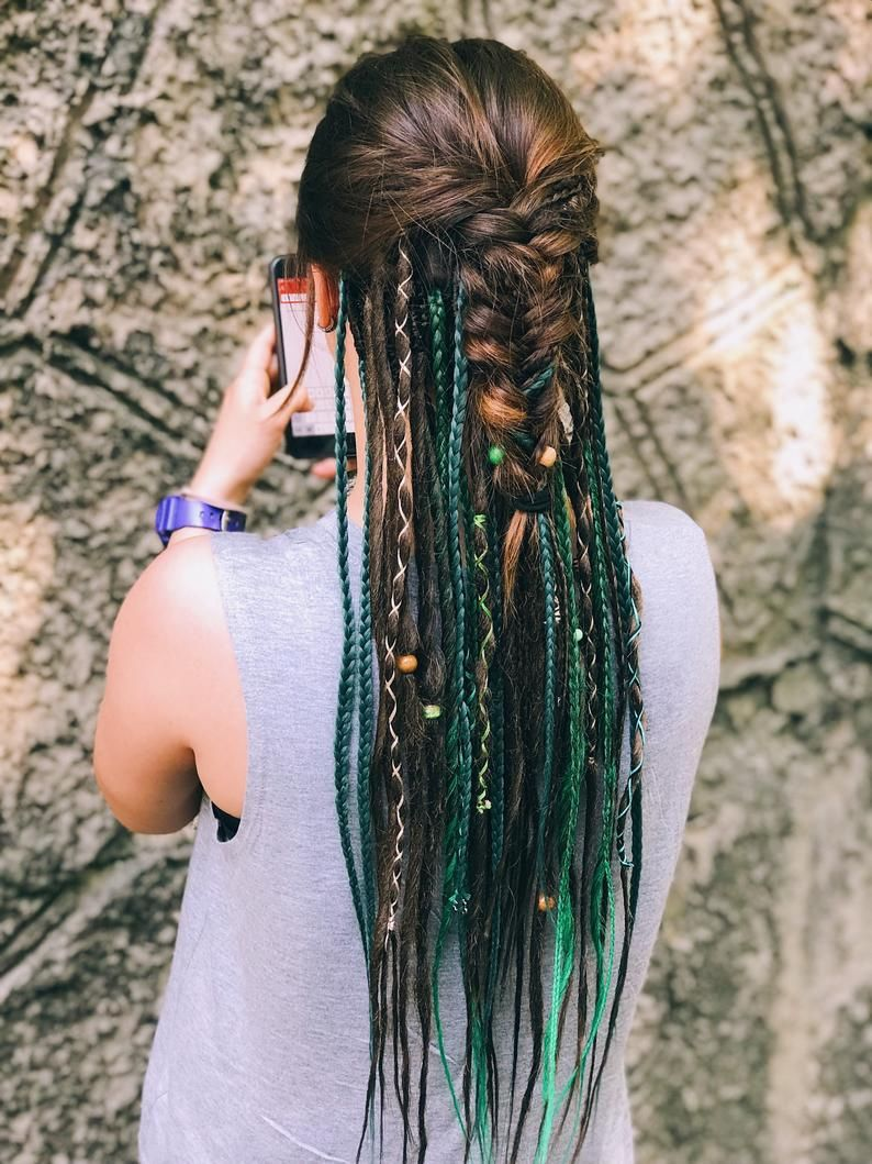 Synthetic Dreads, Single Ended Mix Dreadlocks and Single Ended Braids Natural Brown and Green Ombre with Accessories