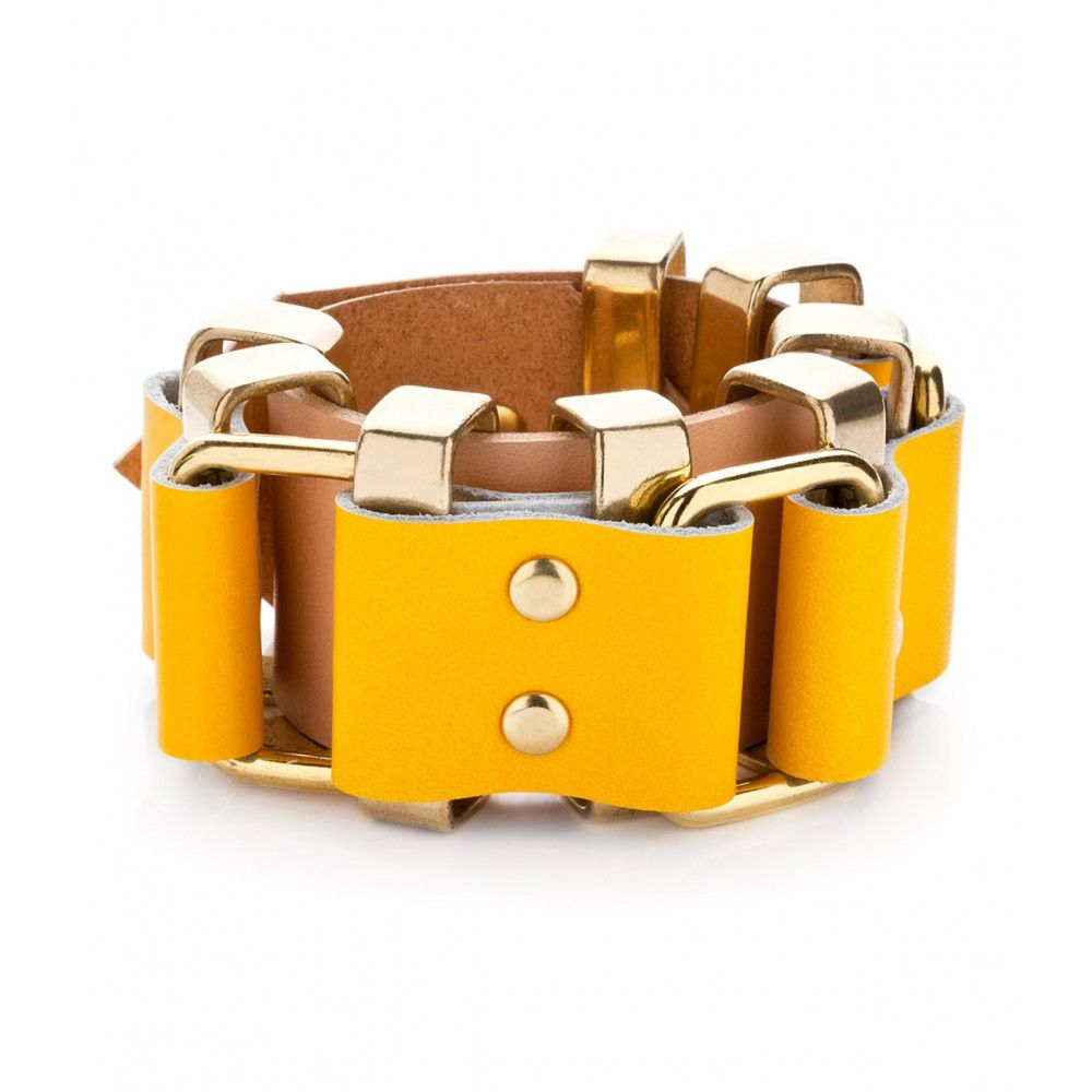 Amama Yellow Leather Bracelet by Moxham