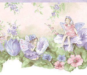 Interior Place Light Purple Rg74175dc Fairy Wallpaper Border 14 99 Fairy Wallpaper Little Girl Wallpaper Flower Fairies