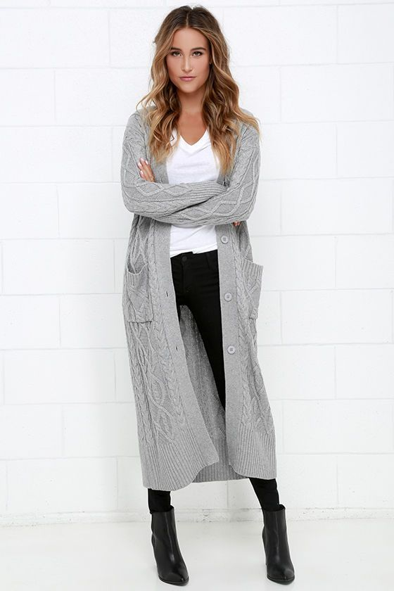 d2953ae892e How to wear grey maxi cardigan. White t shirt and black skinnies. Black  booties