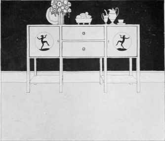 """Painted sideboard designed by W. J. Palmer Jones, London. Plate from """"The Practical Book of Furnishing the Small House and Apartment,"""" by Edward Stratton Holloway, 1922"""