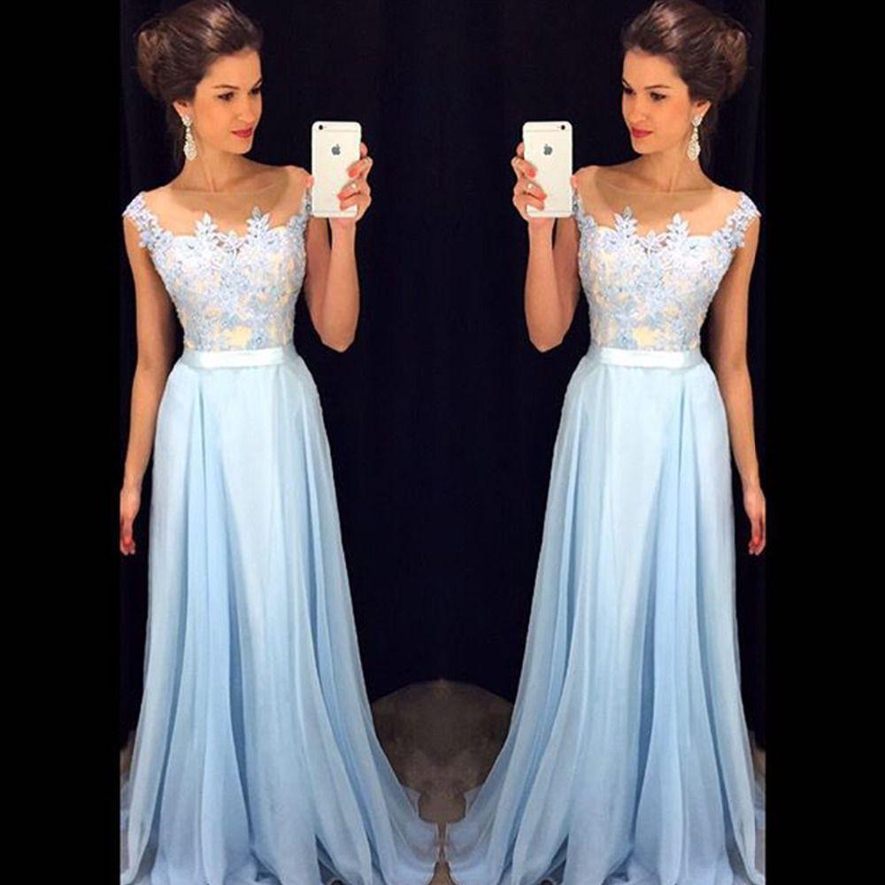 Vestido Longo Lace Top Long Evening Dress Party Dress Vestido De Festa Longo Light Blue Chiffon Cheap Prom Dresses 2015 New