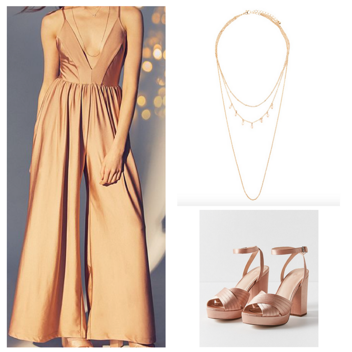 Rose Gold Jumper Rose Gold Shoes And Long Layered Necklace 21stbirthday Fashion Birthday Outfit 21st Birthday Outfits [ 1200 x 1200 Pixel ]
