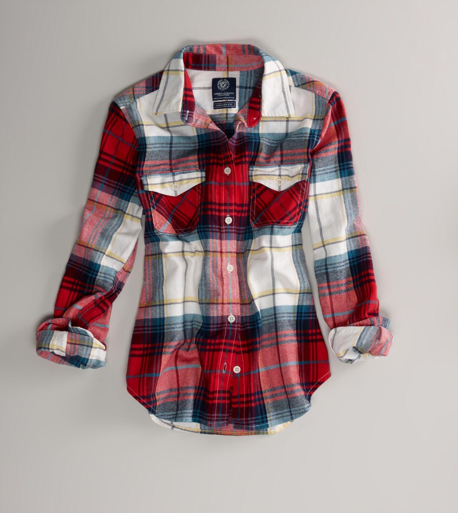 "American Eagle flannel shirt in ""red light"", $39.50"
