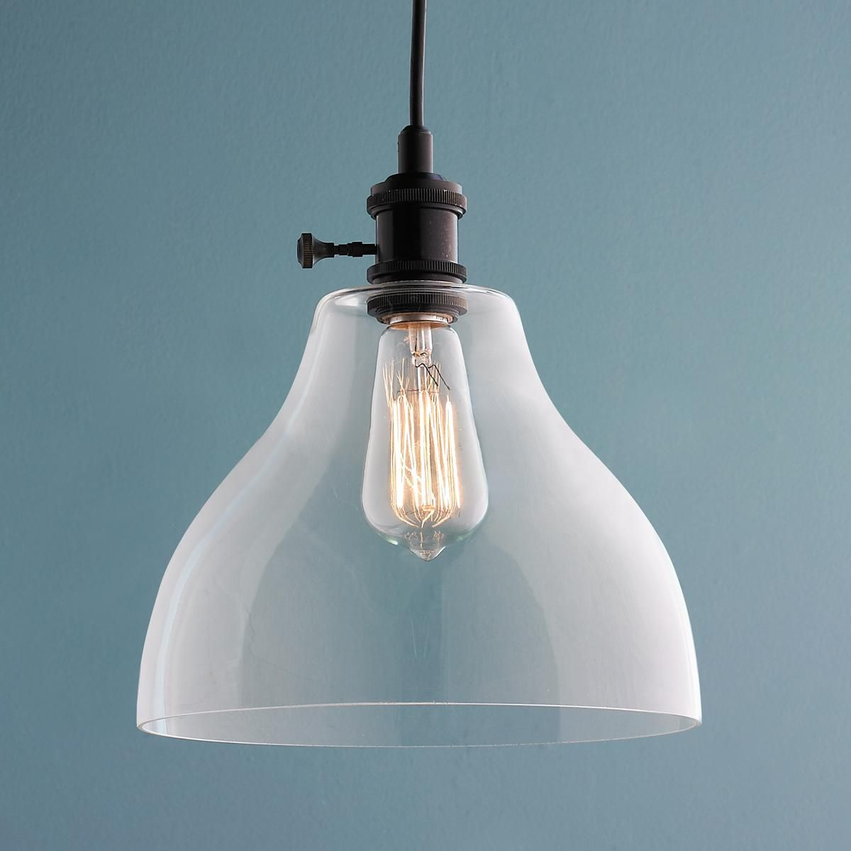 Kitchen Pendant Lighting Glass Shades Clear Glass Bell Pendant Light Large Pendant Lighting