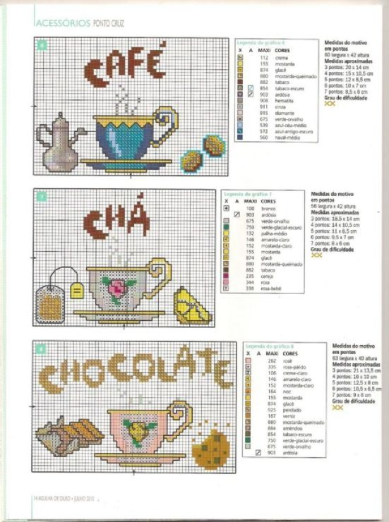 Coffee, tea, and hot chocolate cross stitch chart