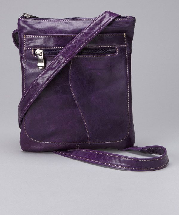 Take a look at this David King & Co. Purple Slender Leather Crossbody Bag on zulily today!