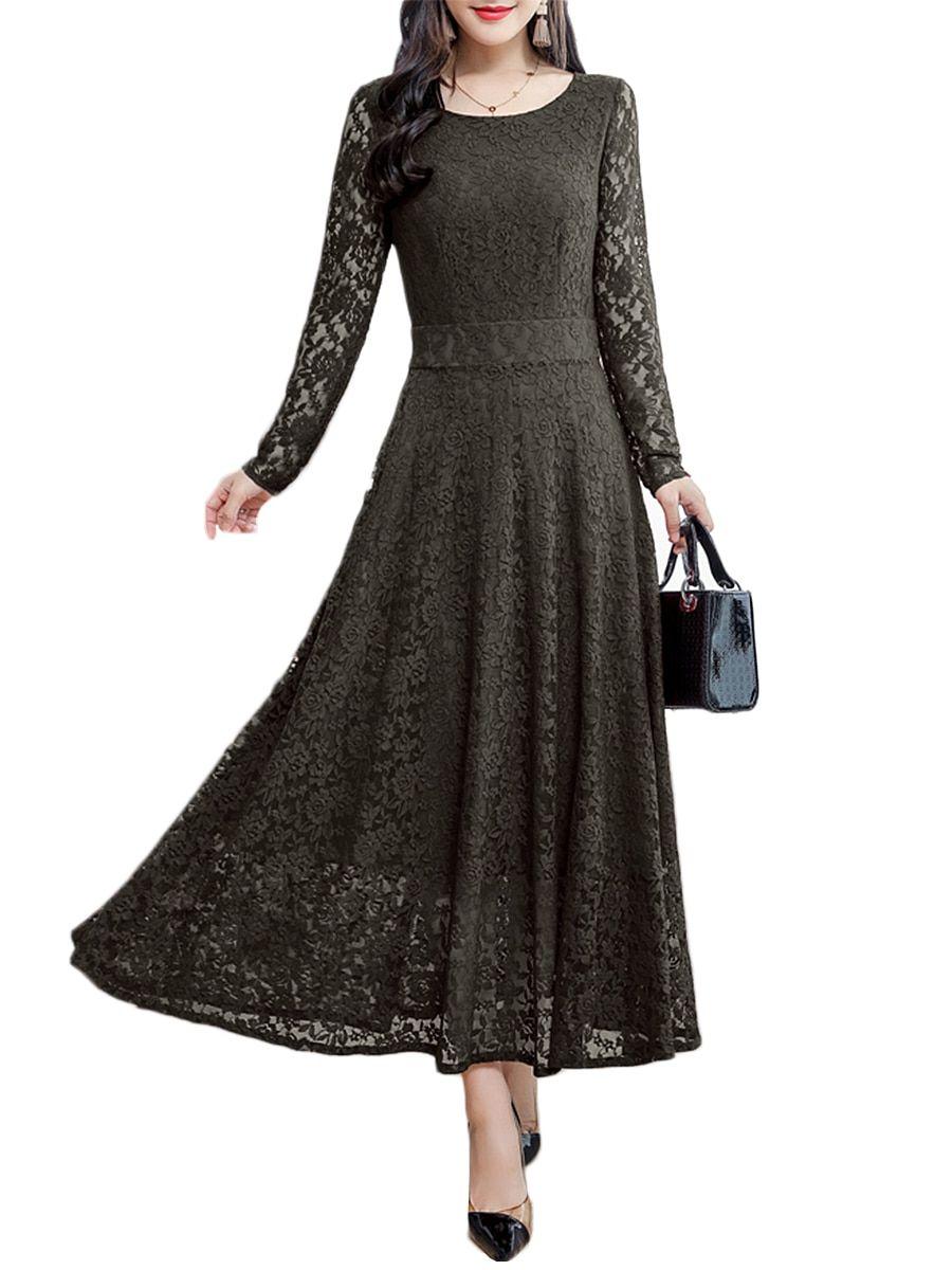 Buy Women s Aline Dress O Neck Long Sleeve High Waist Dress   Regular  Dresses - at Jolly Chic 3450f5cfd