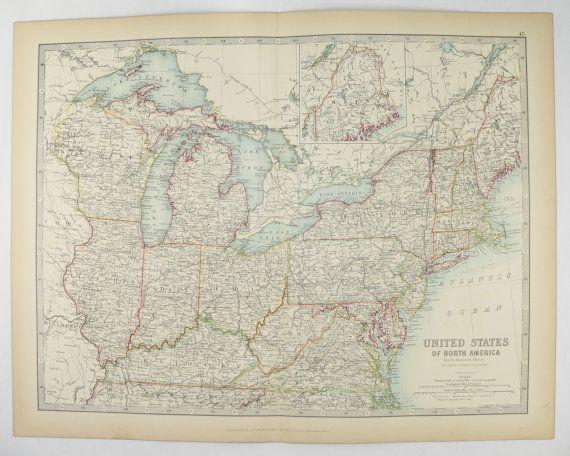 Northeast United States Map 1905 Johnston Map New York, Virginia Map ...