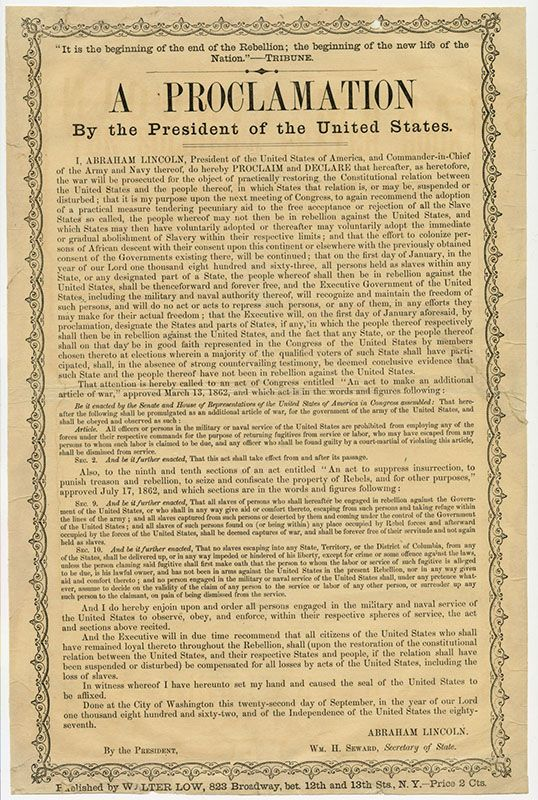 The Emancipation Proclamation was a presidential ...