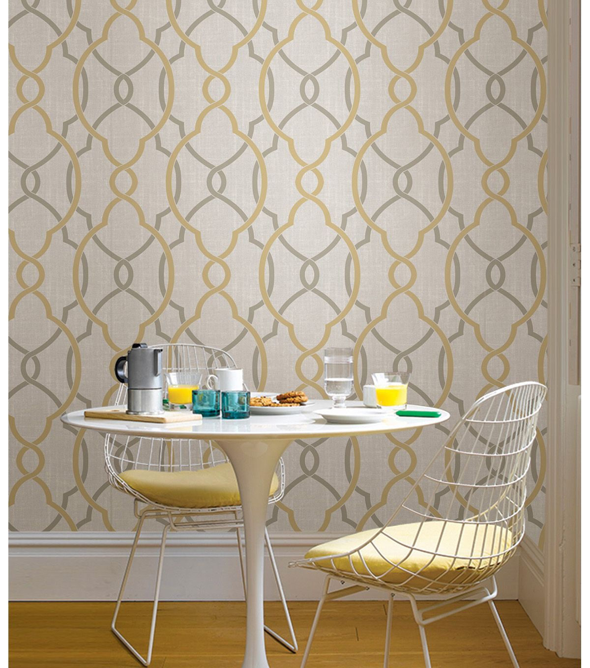WallPops NuWallpaper Taupe/Yellow Sausalito Peel & Stick