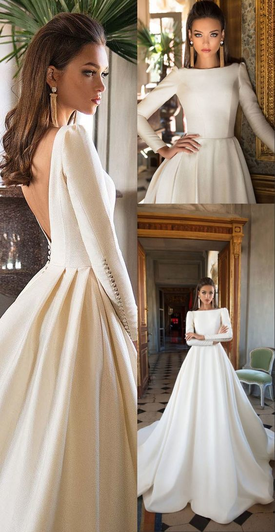 Photo of A-Line Bateau Long Sleeves Backless Court Train Wedding Dress