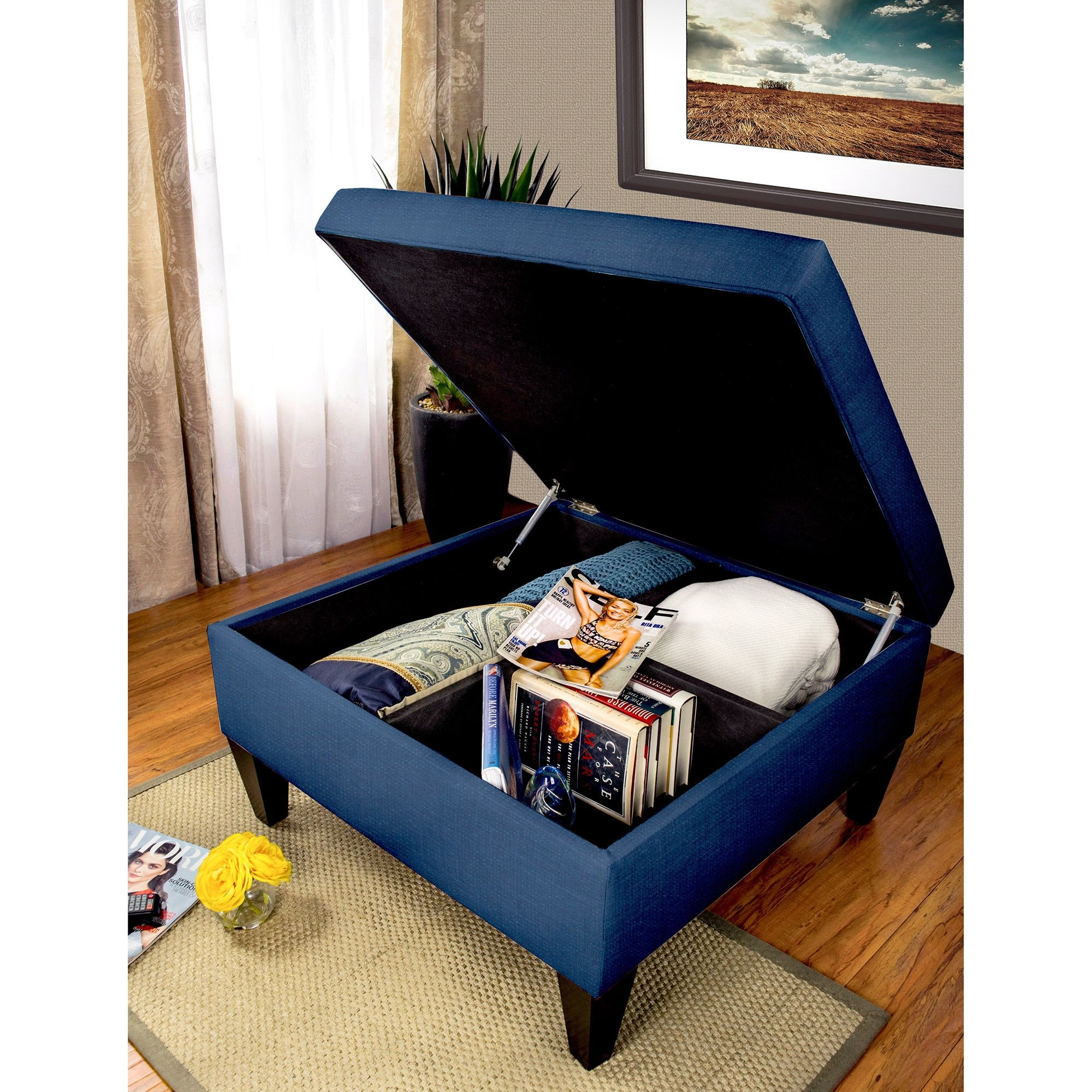 MJL Furniture Solid-colored Fabric Organizational Ottoman ...
