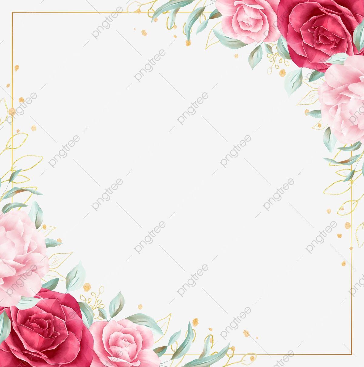 Quadrado Floral De Flores Rosas Aquarela E Borda Dourada Clipart Floral Flor Branco Imagem Png E Psd Para Download Gratuito Watercolor Flower Illustration Watercolor Rose Floral Background