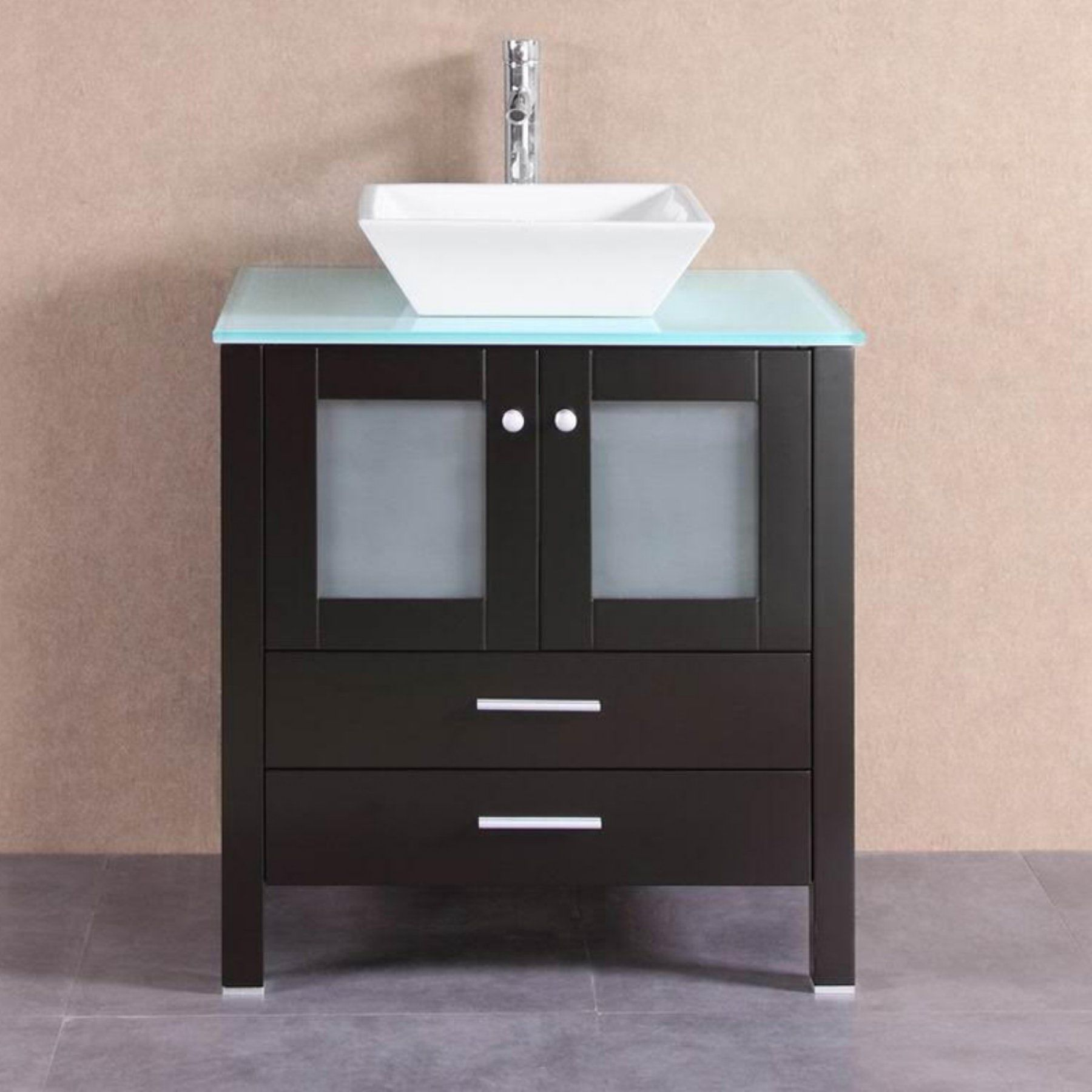 Belvedere 30 in. Modern Single Vessel Bathroom Vanity with Glass Top ...