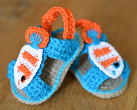 Crochet Pattern For Baby Sandals With Cute Little Fish These Sweet