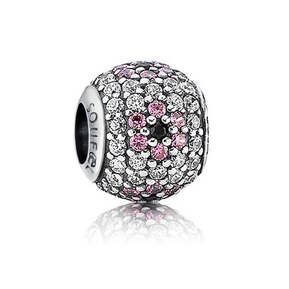 Pink Pave Cherry Blossom Charm 925 Sterling Silver Pandora