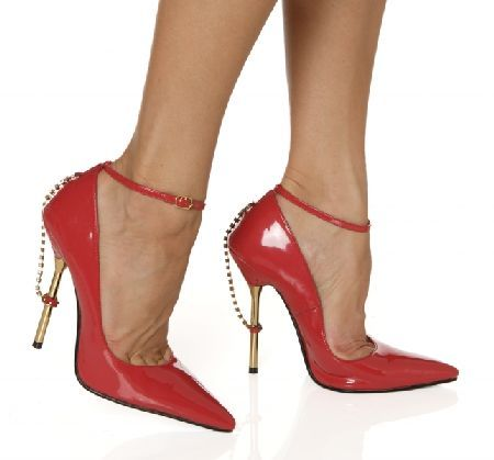 The Highest Heel Shoes Roxi Red Court Shoes Red patent court shoes with pointy toe, front flat sole and chic spindle-like 5 inch (12.5 cm) high heels with metallic finishing and rhinestone decoration which starts on top heel area and goes down  http://www.MightGet.com/january-2017-12/the-highest-heel-shoes-roxi-red-court-shoes.asp