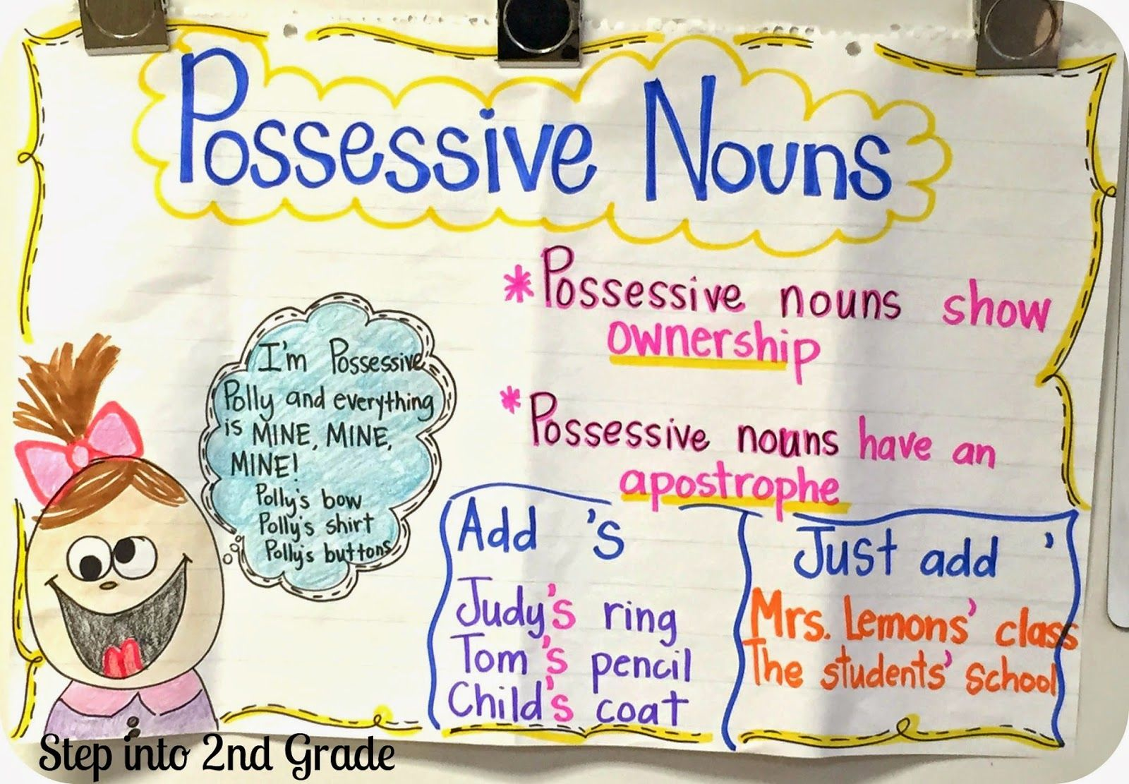 Possessive Nouns (Step into 2nd Grade with Mrs. Lemons)   Possessive nouns [ 1111 x 1600 Pixel ]