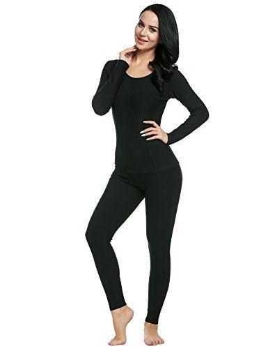 Ekouaer Women's Thermal Wear Winter Long Johns Pajama Set ...