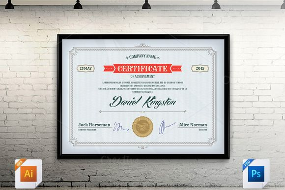Certificate Template Vector  Psd By Creative Stuff On Creative