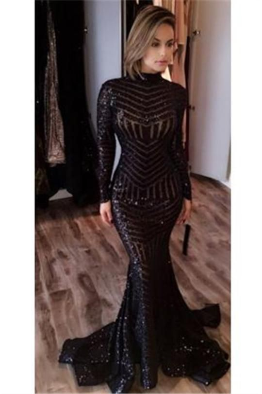 Sexy Black Mermaid High Neck Evening Gowns Long Sleeves