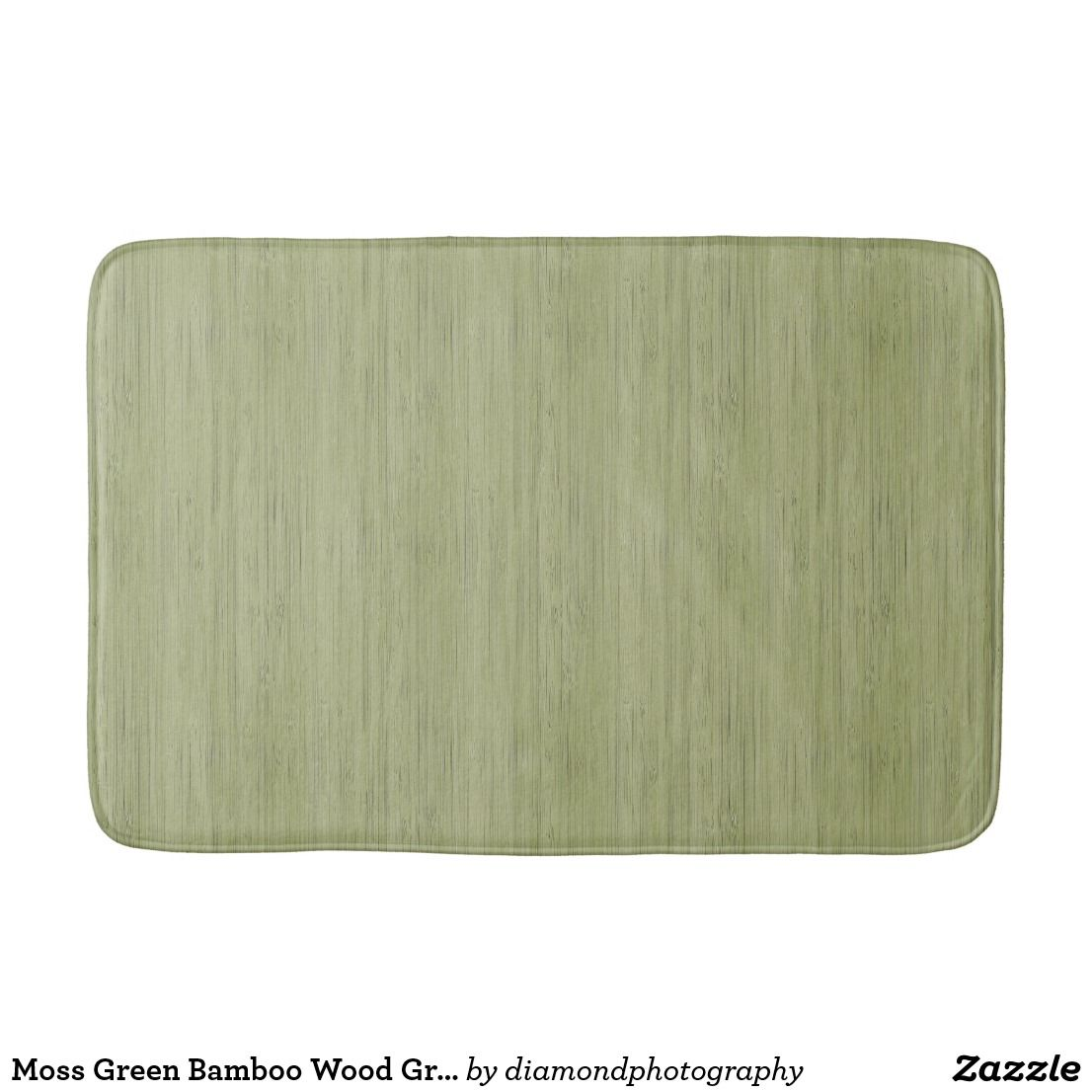 Moss Green Bamboo Wood Grain Look Bath Mat Zazzle Com Bamboo