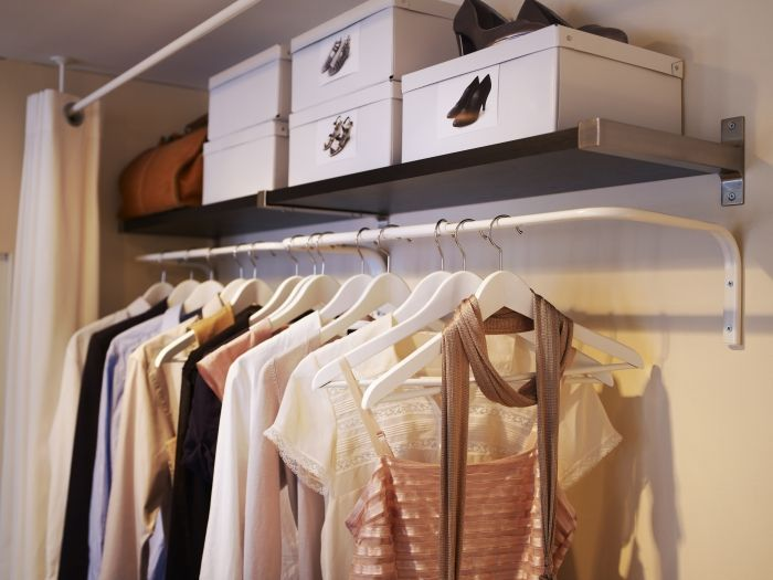 Wall Rack When Closet Space Is Limited   MULIG Wall Mounted Clothes Bar    An Affordable Solution For A Lack Of Built In Closet Space.