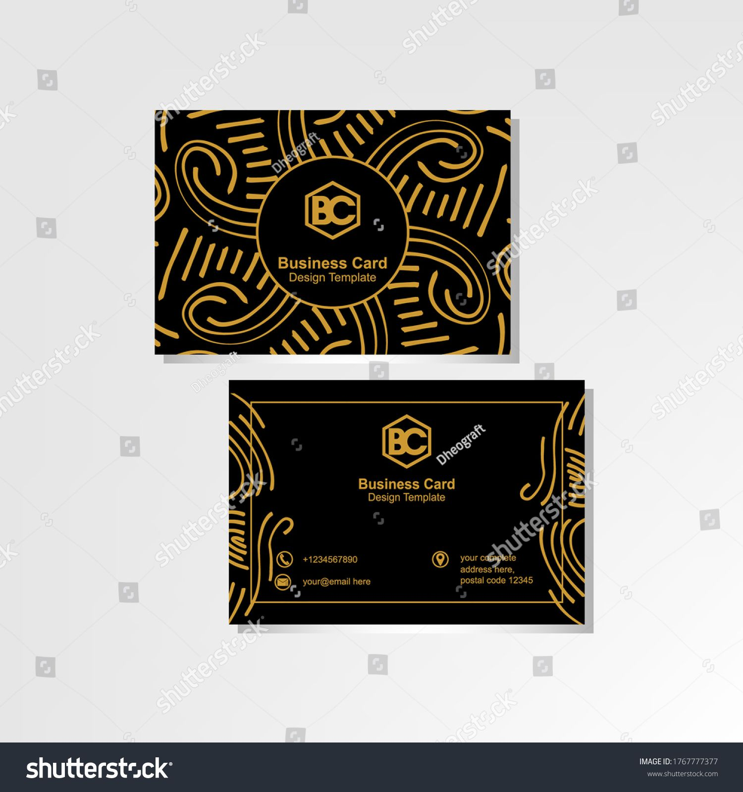 Luxurious Business Card Design Template With Abstract Floral Ornaments Luxury Business Cards Business Card Template Design Business Card Design
