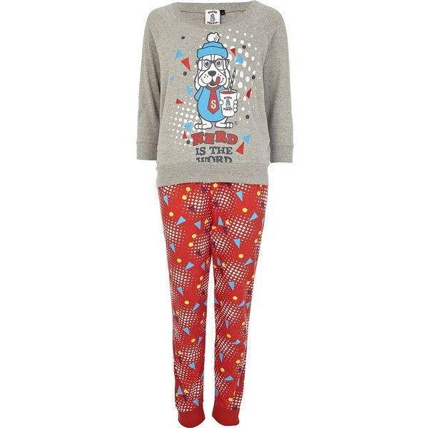 River Island Grey Puppy Print Pyjamas ($19) ❤ liked on Polyvore