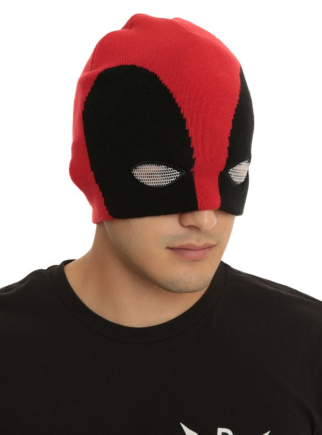 Knit beanie from Marvel with a Deadpool half mask design featuring eye  holes. 8e8480dfc1c
