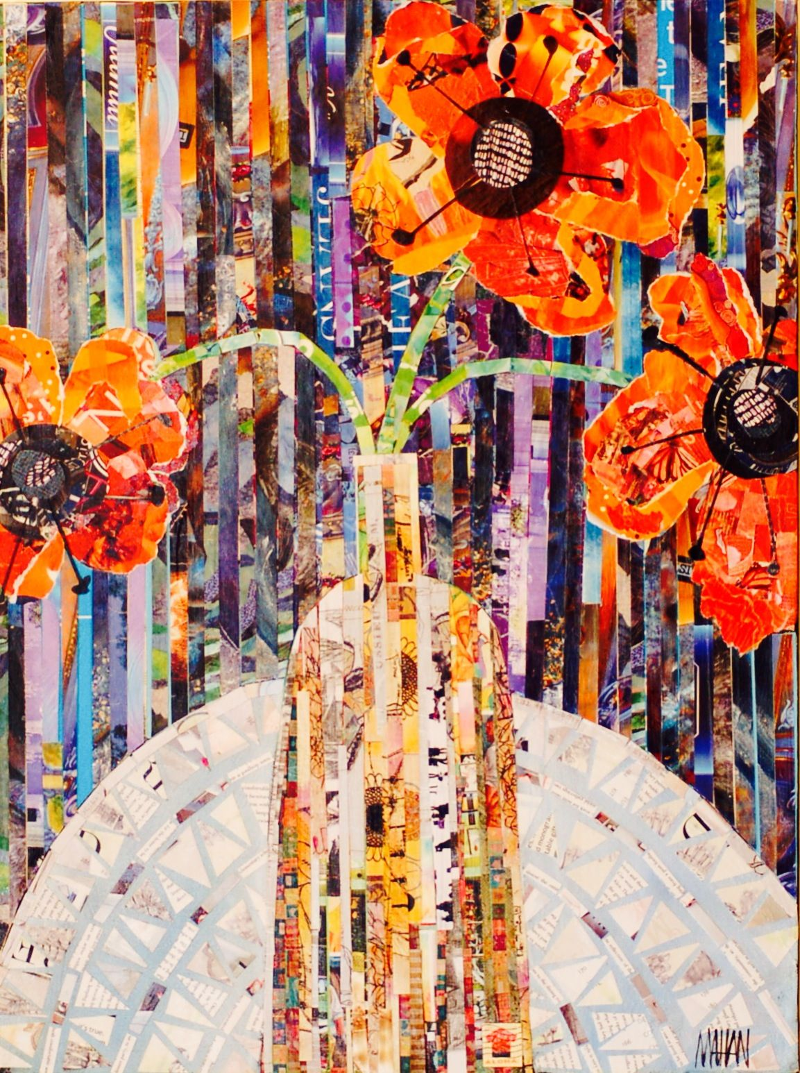 by Local Artist NYC Mixed Media Art and Collage Pink