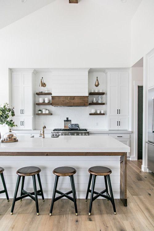 White and Wood Modern Farmhouse Kitchen Ideas