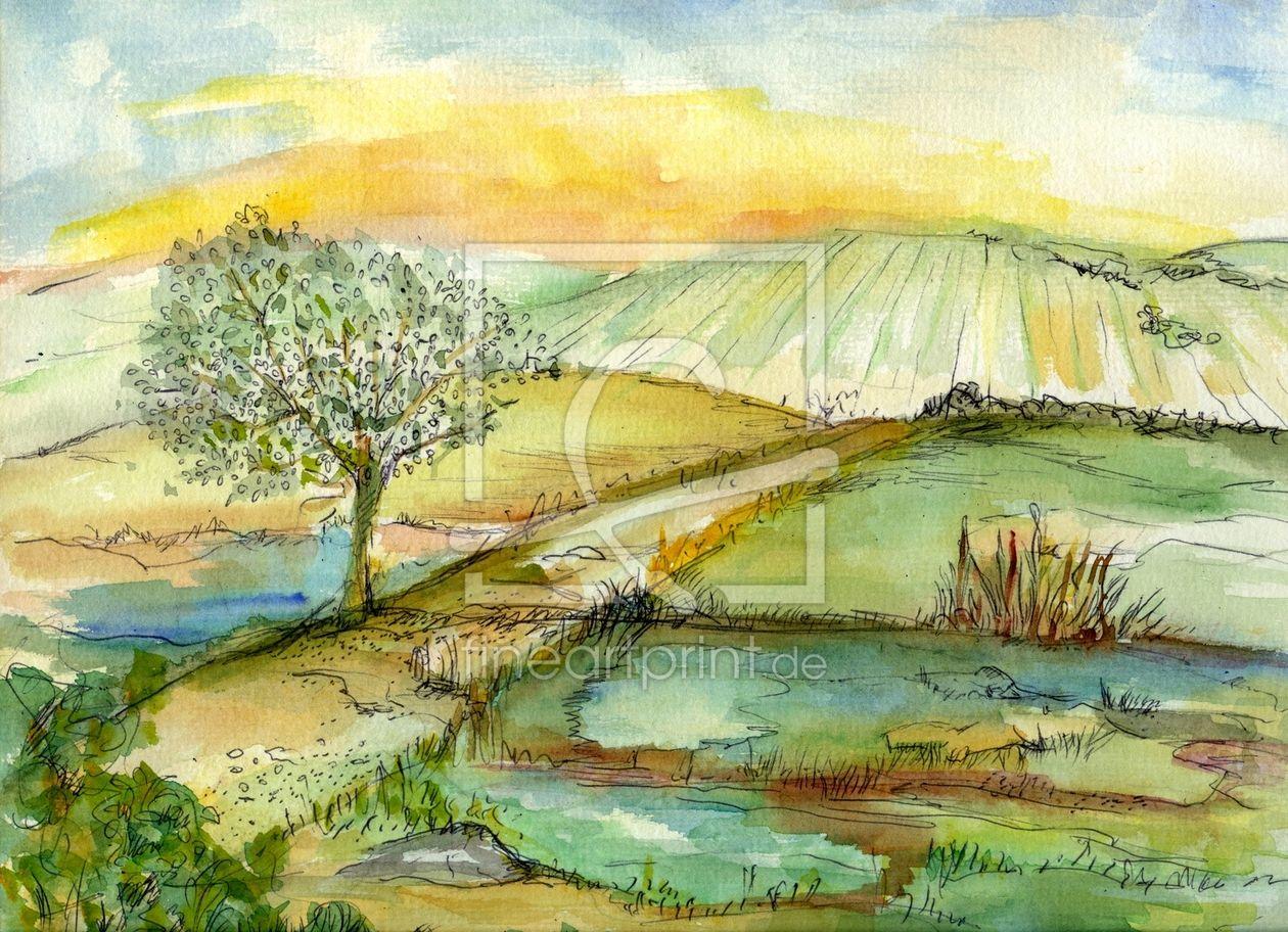 Aquarellandschaft Malerei Aquarell Farbenfroh Baum Wiese Felder