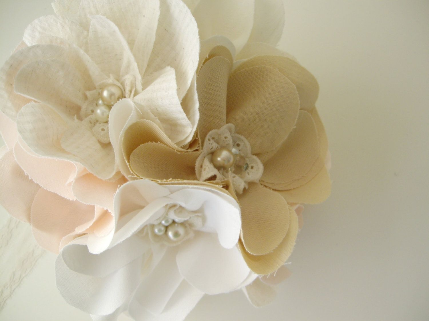 Handmade Rustic Chic Wedding Bouquet Petite Fabric Flowers Bouquet