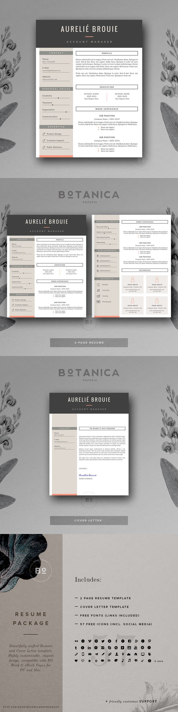 CV Template for MS Word | Cv template, Simple resume ...