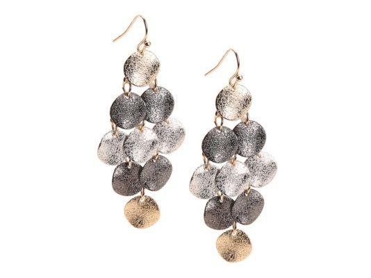 Women's One Wink Triple Tone Chandelier Earrings - Multi metallics